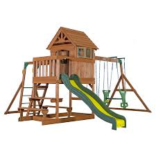 Backyard Discovery Springboro Residential Wood Playset with Swings