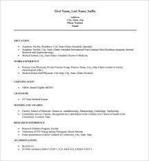 Free Medical Resume Templates New Doctor Resume Templates 28 Free Samples Examples Format