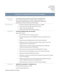 Contract Administrator Resume Examples Administration Sample Samples