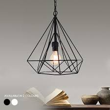 geometric diamond wire cage pendant light ambient inside ideas 19