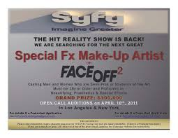 casting men and women who are semi pros or students of the art beautifying prothetics special effects grand prize is 100 000 send inquiry to new york
