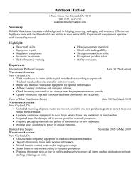 Warehouse Associate Resume Objective Examples Free Resume