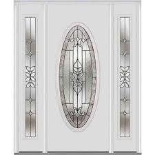 mmi door 64 in x 80 in cadence left hand oval lite decorative