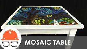 reclaimed end table with starry night tile mosaic top