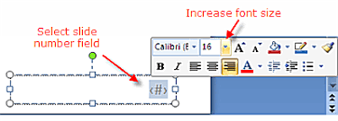 increase size how to increase powerpoint 2007 slide number size