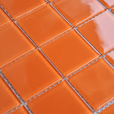 Orange Crystal Glass Mosaic Tiles Kitchen Backsplash Design Bathroom Wall  Floor Shower Free Shipping ...