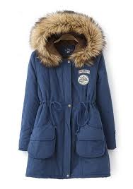 dark blue patchwork pockets drawstring faux fur hooded casual winter parka coat outerwears tops