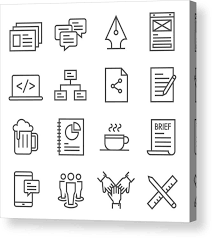 Teamwork Outline Vector Icon Set Included The Icons As Presentation Comment Mockups Flow Chart Coffee Break Beer And More Acrylic Print