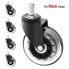 """MySit 5x Replacement Casters for IKEA Office Chairs, 3"""" Heavy Duty  Large Rubber Caster"""