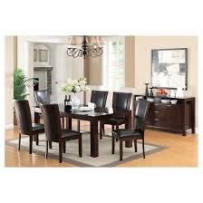 dining table dark wood. iohomes 7pc tempered glass top dining table set wood/dark cherry dark wood