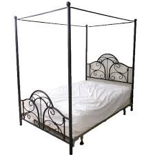 Black Finished Steel Full-Size Canopy Bed Frame