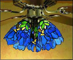 fan globes. stained glass ceiling fans | iris blue green fan light globes o