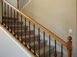 Stairs, Remarkable Interior Railing Kits Modern Stair Railing Kits Brown  Wood S With Black Iron