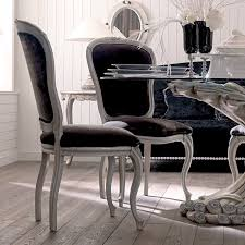 round glass dining table set antique finish silver designer italian chair