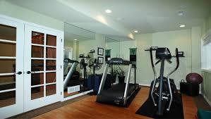 Interior:Modern Basement Home Gym Design Idea Fascinating Basement Gym  Decoration With Wooden Flooring Idea