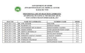 jinnah postgraduate medical centre jpmc karachi povisional  povisional list of selected candidates of diploma in clinincal neurology dcn