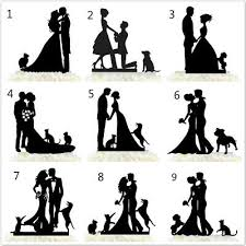 Bride And Groom Family Wedding Cake Topper Funny Couple With Dogs