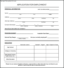 Employment Form Template Sample Employment Application Forms Form Template For Australia