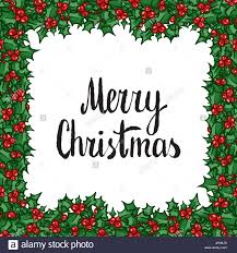 Frohe Weihnachten Schriftzug Mit Holly Hand Gezeichnete