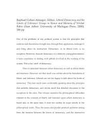 Essay On Tolerance Pdf Liberal Democracy And The Limits Of Tolerance Essays In Honor