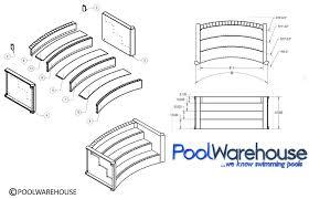 inground steel swimming pool steps pool kits pool warehouse Inground Pool Diagram 6' wide 8' radius 3 tread steel step inground pool diagram