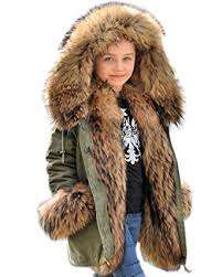 Aofur Kids Unisex Coat Winter Black Jacket Faux Fur Parka Casual Hooded Warm Trench Outwear Children Amazon.com: