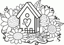 Small Picture birdhouse sunflowers coloring page greatest book 287431 Coloring