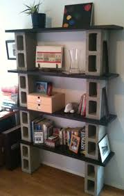 Interesting Homemade Bookshelves With Unique Materials: Magnificent  Bookshelves Gray Color Modern Design Ideas Made From Concrete And Wood M.