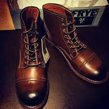 frye leather boots cap toe