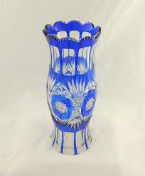 bohemian blue overlaid cut glass vase 1 of 6