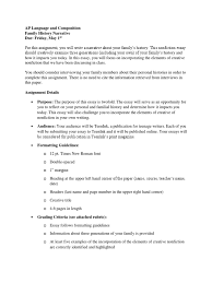 family history narrative assignment sheet creative nonfiction family history narrative assignment sheet creative nonfiction essays