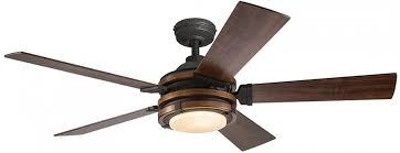 kichler barrington 52 in distressed black and wood indoor downrod or close mount ceiling fan with light kit and remote