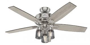 hunter 54190 bennett 3 led light 52 inch ceiling fans in brushed nickel with 5 grey