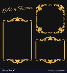 set vintage gold frames vector image