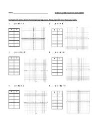 Graphing Linear Equations Functions Using Tables Or Xy Charts Worksheet