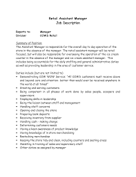 Retail assistant Manager Responsibilities Resume Lovely assistant Manager  Description for Resume