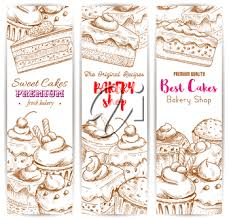 Bakery Shop Banners Vector Sketch Desserts And Sweets Of Cakes With