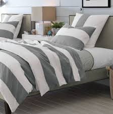 grey and white striped duvet cover