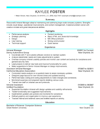 Best Intranet Manager Resume Example Livecareer