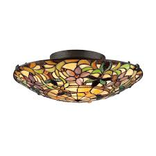 quoizel style 2 light vintage bronze stained glass flush mount light