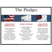 3 In 1 Pledges American Flag Bible Christian Flag Laminated Wall Chart