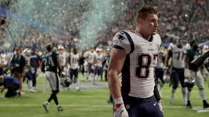 new england patriots rob gronkowski walks off the field after the nfl super bowl 52