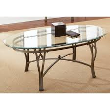 wroughted iron base glass oval coffee table stainless strong durable clear surface