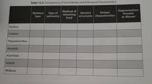 Solved Table 12 2 Comparisons Of Invertebrate And Arthro