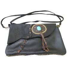 southwest style soft pliable black leather purse to expand