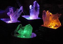 Mineral Display Stands Arkansas Quartz Crystals With LED Light Display Stands For Sale 79