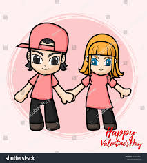 Design Lover Cute Characters Design Lover Valentines Day Stock Vector