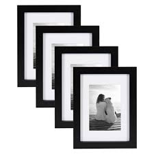 designovation gallery 5 in x 7 in matted to 3 5 in x 5 in black picture frame set of 4 209130 the home depot