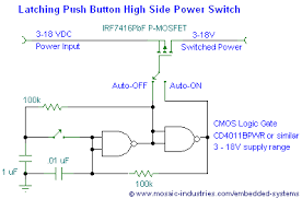 push button on off soft latch circuits battery powered touch circuit schematic of a nand gate latch controlling a high side mosfet power switch