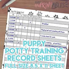 Puppy House Training Chart Printable Puppy Potty Training Record Instant Download 8 5